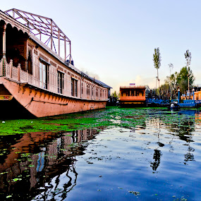 by Sudipto Ghosh - Buildings & Architecture Homes ( water, blue sky, houe boat, shikara, dall lake, house, boat )