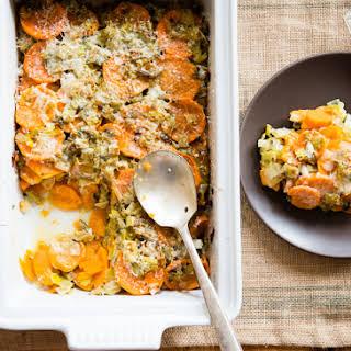Healthy Sweet Potato-Leek Gratin.