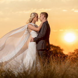 SA Sunset by Lood Goosen (LWG Photo) - Wedding Bride & Groom ( bride, love, wedding dress, couple, groom, wedding photographer, wedding photography, weddings, wedding day, wedding photographers, couples, brides, bride and groom, sunset, wedding )