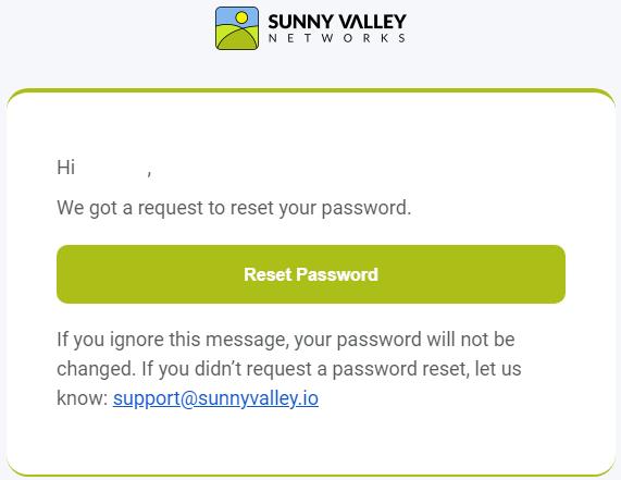 Reset Password E-mail