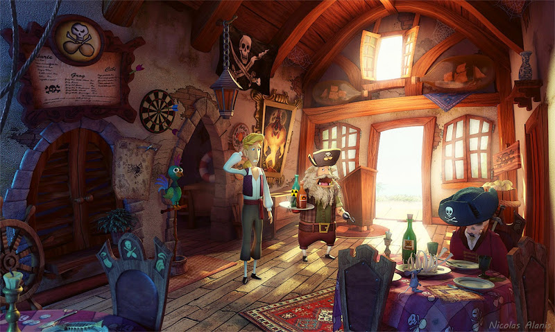 "Photo: ""Blondebeard's Restaurant"" 3dsMax, rendering: Mental Ray, texturing e post: Photoshop  Author: Gaston Nicolas Alanis"