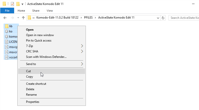 Cut ActiveState Komodo Edit 11