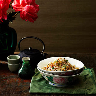 Cantonese Fried Rice With Chicken, Salted Fish And Bean Sprouts.
