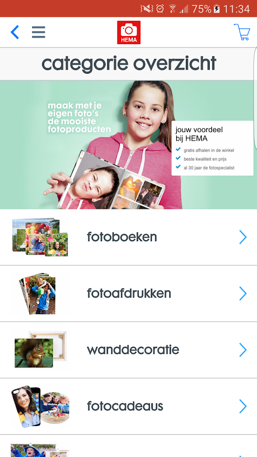 HEMA fotoservice: screenshot