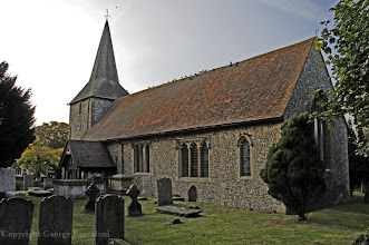 Photo: St. Mary's church in Downe, Kent, where members of Charles Darwin's family are buried in 2008. Copyright George Beccaloni