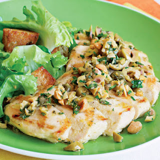 Grilled Chicken Breasts with Green-Olive Relish