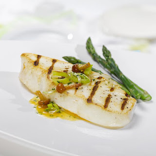 Seared Halibut with Chanterelle Mushrooms.
