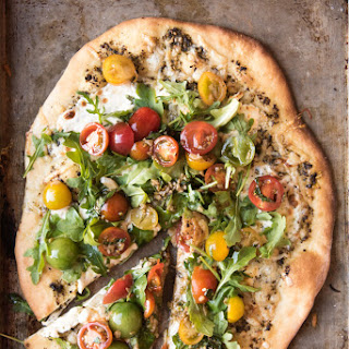 Four Cheese Pizza with Tomato Basil Arugula Salad