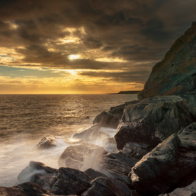 Front Bay - Monreith by James Johnstone - Landscapes Waterscapes ( bay, wave, sun,  )