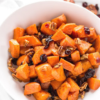 Brown Butter Sweet Potatoes with Maple & Pecans