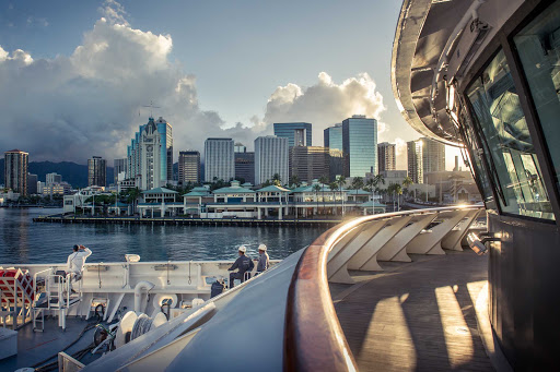 See the downtown skyline of Honolulu in style on a Ponant cruise.