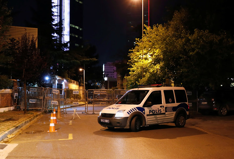 A police vehicle waits in front of Saudi Arabia's consulate in Istanbul, Turkey, on October 2 2018. Dissident Jamal Kashoggi is reported to have entered the consulate on October 2 and not come out again. Picture: REUTERS/OSMAN ORSAL