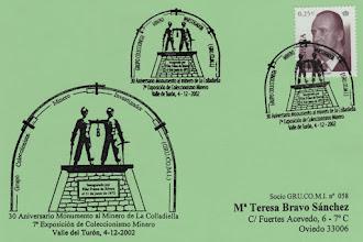 Photo: Matasellos de Grucomi en el 30 aniversario al Monumento al Minero de la Colladiella 2002