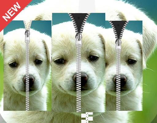 Dog Puppy Zipper Lock Screen