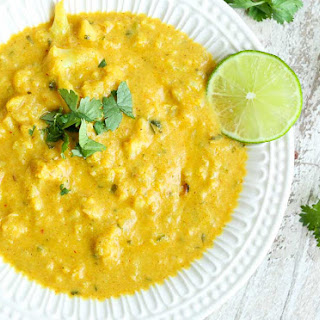 Cauliflower Soup with Coconut, Turmeric, and Lime.
