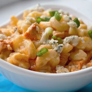 Healthy Buffalo Chicken Macaroni and Blue Cheese.