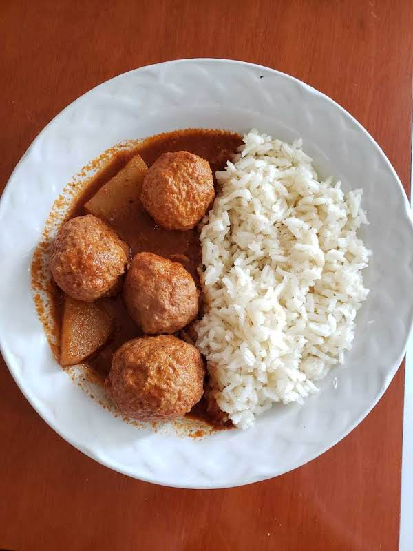 Delicious Chipotle Meatballs With White Rice Side, Perfect Combination!