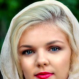 Moriah 2 by John Larson - People Portraits of Women ( woman, scarf, head shot, model, blonde, portrait )