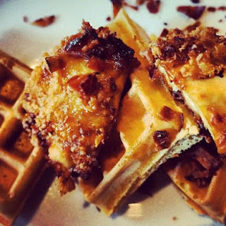 Chicken and Waffles with Lemon Bacon Candy