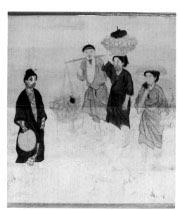 書画幅・短冊、琉球風俗、彩色 一幅