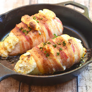 Bacon-Wrapped Cheese-Stuffed Chicken.