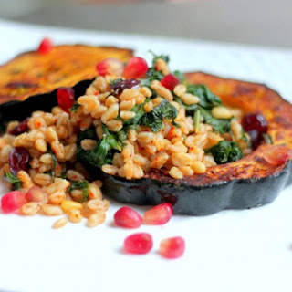 Roasted Acorn Squash With Farro Pilaf