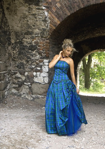 Synthia (Isla) Scottish wedding dress, made of tartan silk