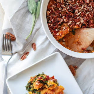 Butternut Squash, Bacon, and Kale Casserole.
