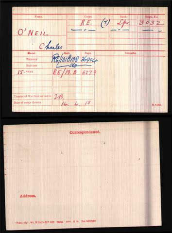 Charles O'Neill's Medal Index Card