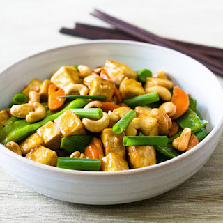 Cashew, Tofu, Carrot, and Snow Pea Stir-Fry.