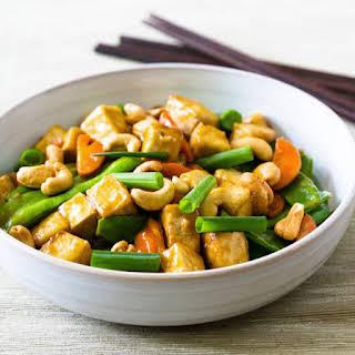Cashew, Tofu, Carrot, and Snow Pea Stir-Fry.