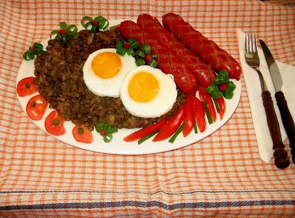 Brown Lentils With Hanz Kabana Frankfurst