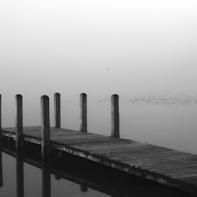 Pier, Fog by Gary Poulsen - Novices Only Landscapes ( reflection, fog, pier, black and white. bw, lake, black and white, b and w, landscape, b&w, monotone, mono-tone )
