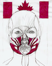 """Photo: Canada Day 2012, Brenda Clews, 27.9cm x 21.6cm, 11"""" x 8.5"""", graphite, charcoal, red Bombay India ink on Fierro paper."""