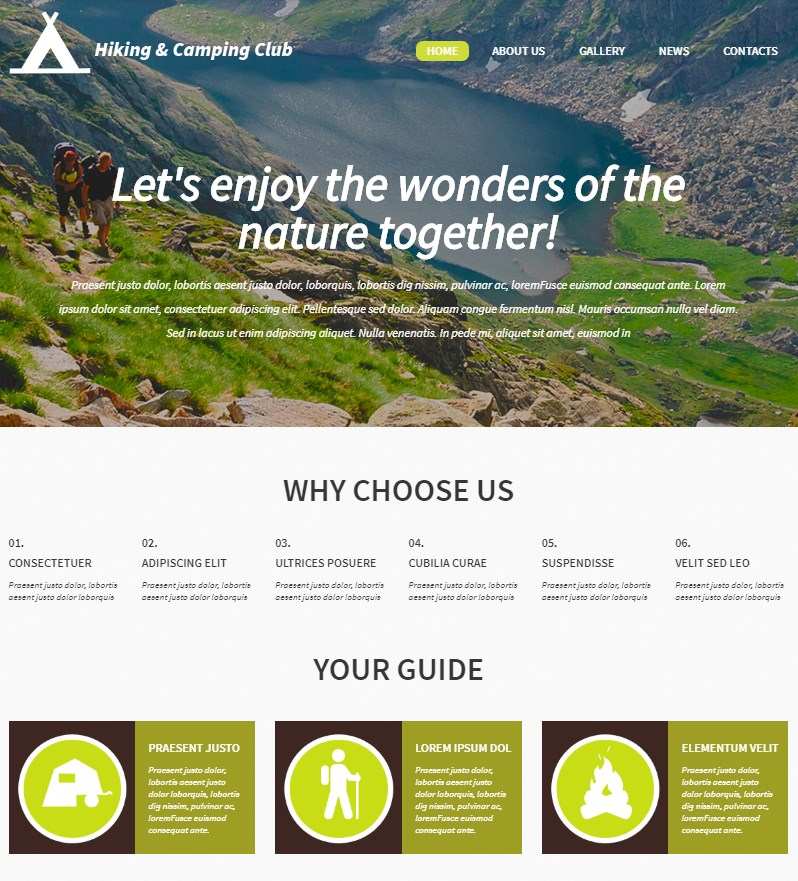 Hiking and Camping Club Website Theme