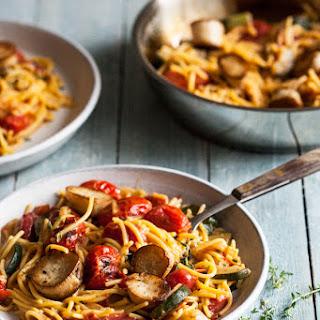 Summer Pasta with Mushroom Scallops, Burst Cherry Tomatoes & Zucchini.