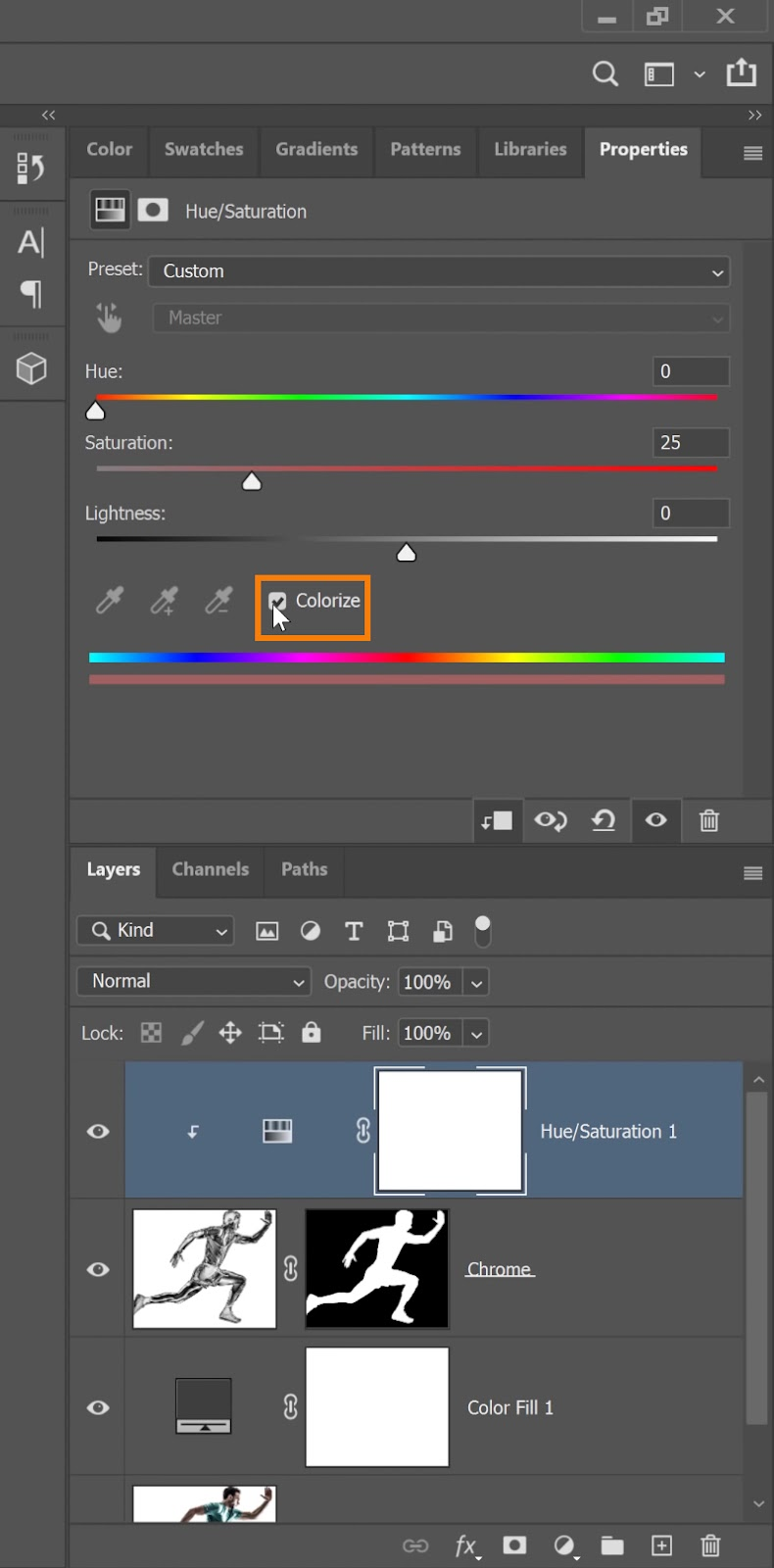 Check the box for Colorize to apply color to the Hue/Saturation layer
