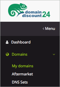 Domains > My domains is selected.