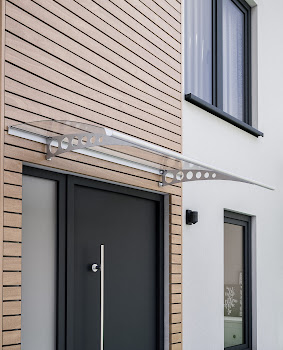 Auvent marquise de porte Style Plus, 160 x 90 cm, plongeant, verre transparent polycarbonate, fixations inox ou acier anticorrosion, Circle