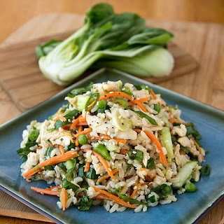 Asian-Style Brown Rice Salad in Orange Sesame-Soy Dressing with Baby Bok Choy Greens, Carrots, Petite Peas and Shredded Chicken Recipe