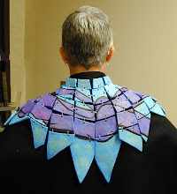 Photo: Ceramic Shawl for Wearable Artshow in Phoenix - Donation piece for Artlink Organization - hi fire ceramic clay, wire, and felt- cold patina finish