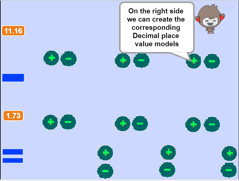 Subtracting Decimals using place value blocks- screenshot