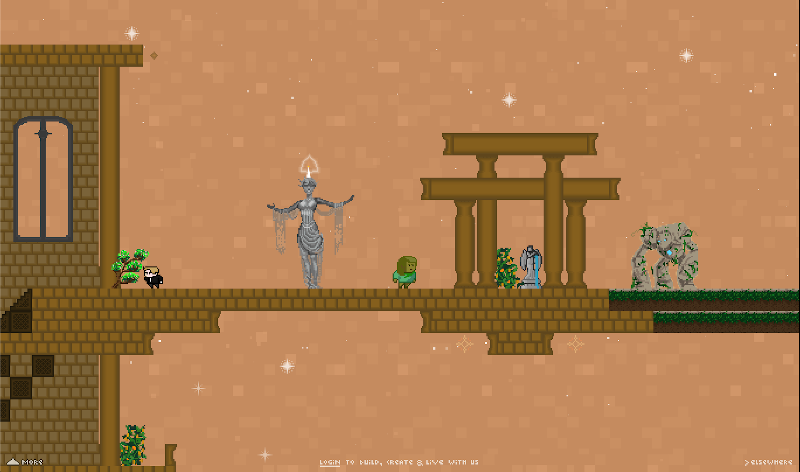 statues and mansions in Manyland