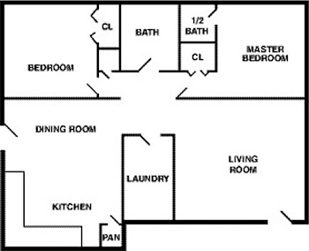 Go to Two Bed, 1.5 Bath Floorplan page.