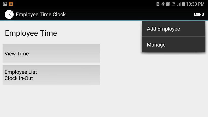 Employee Time Punch Clock Screenshot