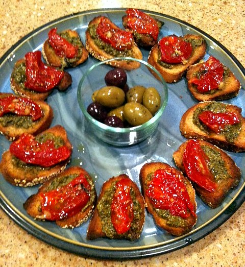 Pesto and Roasted Pepper and/or Sun Dried Tomatoes Bruschetta