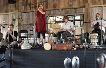Photo: Barry Hall, Beth Hall, Brian Ransom and Eric Peterson play ceramic instruments at The Bascom in Highlands, NC