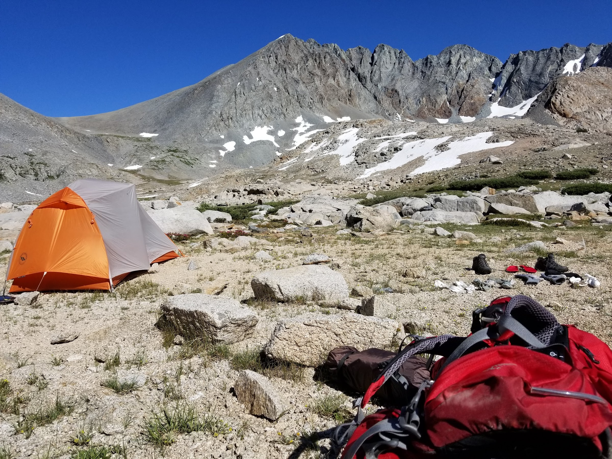 Camp in Upper Basin below Split Mountain