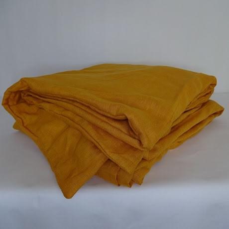 Orange påslakan i linne