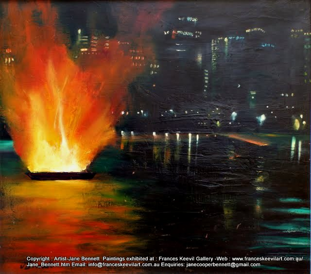 plein air painting of Australia Day fireworks Darling Harbour by maritime artist Jane Bennett
